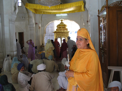 At the Akāl Takhat (under the canopy)